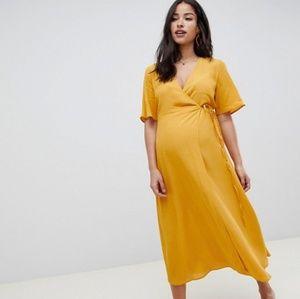ASOS New Look Maternity Yellow Wrap Dress